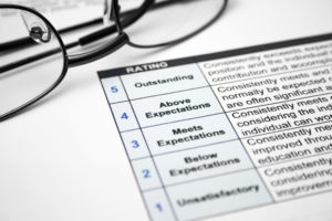 Close up of reading glasses on employee evaluation form